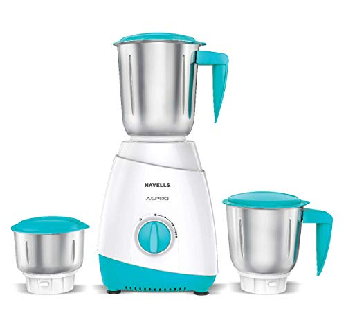 Havells ASPRO 500 Watt Mixer Grinder with 3 Stainless Steel Jar (White & Light Blue) with 5 Year Motor Warranty