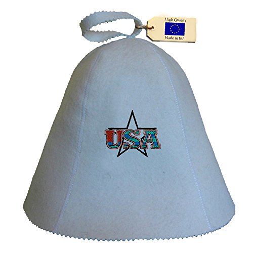 Allforsauna Sauna Hat Russian Banya Cap 100% Wool Felt Modern Lightweight Head Protection for Men and Women | USA Star