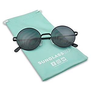 Sunglass Stop - Vintage Small Round Circle Hipster 1960s Trendy Sunglasses (Black)