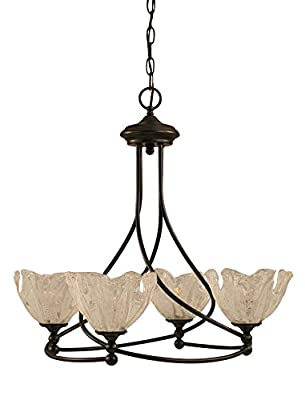 "Toltec Lighting 904-DG-759 Capri 4 Light Chandelier with 7"" Italian Ice Glass, Dark Granite Finish"