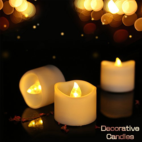 Tea Light with Timer 6 Hours on and 18 Hours Off Cycle Automaticall Battery Powered Votive Candle for Home,Wedding,Love,Table,Window Decoration, Warm White,12 ()
