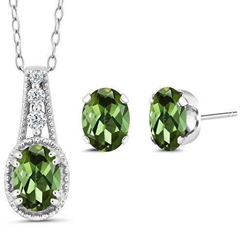 Gem Stone King 1.73 Ct Oval Green Tourmaline 925 Sterling Silver Pendant Earrings Set