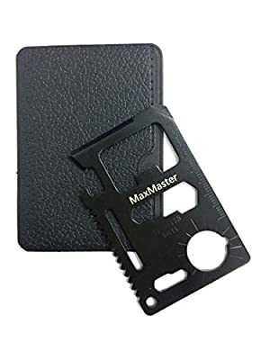 MaxMaster Credit Card Survival Tool - 11 in One Multipurpose Beer Bottle Opener Portable Wallet Size Pocket Multitool (Black) by MaxMaster