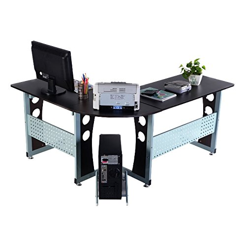 Corner Computer Desk With Keyboard Tray - L Shaped Home Office Workstation Bundle w Floor Protector Pads