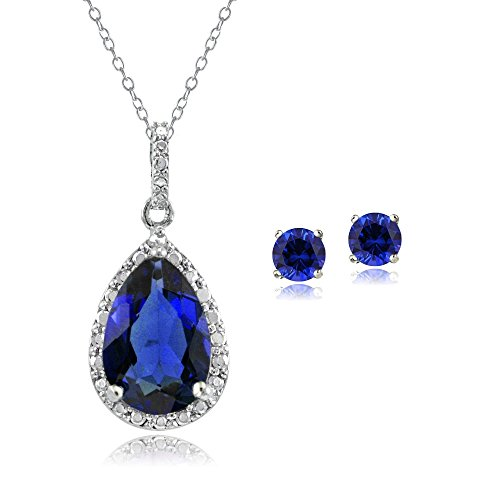 Jewelry Diamond Sapphire Set (Sterling Silver Created Blue Sapphire Teardrop Necklace & Earrings Set)