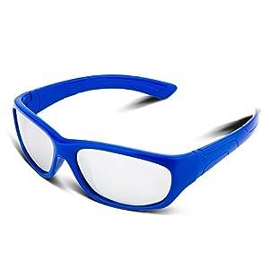 RIVBOS RBK025 Rubber Flexible Kids Polarized Sunglasses Glasses Age 3-10 (Blue Coating Lens)