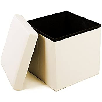 """Geartist GOO1 Leather Folding Organizer Storage Ottoman Bench Footrest Stool Coffee Table Cube, Camping Fishing Stool, Quick and Easy Assembly, Perfect for Child. 12""""x12""""x12"""""""