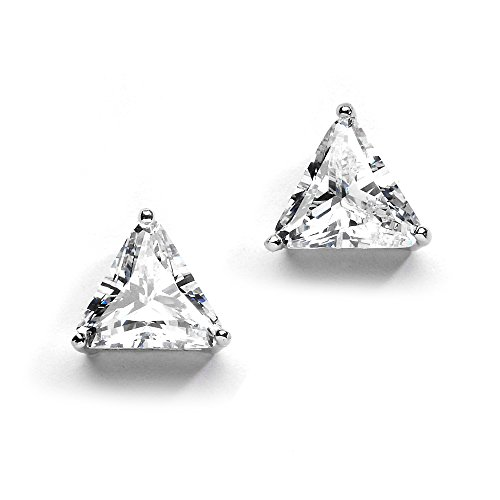 Mariell Bold 9.5mm Cubic Zirconia Earrings - Trillion Cut CZ Studs - Gleaming Large Solitaires (3 Ct Each) Trillion Cut Earring