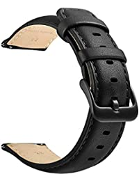 22mm Watch Band, LEUNGLIK Quick Release Leather Watch Strap Replacement Bands with Black/Brown/Gray Stainless Pins Clasp