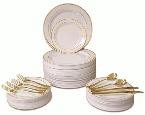 '' OCCASIONS '' 720 PCS / 120 GUEST Wedding Disposable Plastic Plate and Silverware Combo Set , ( Ivory / Gold Rim plates, Gold silverware) by OCCASIONS FINEST PLASTIC TABLEWARE