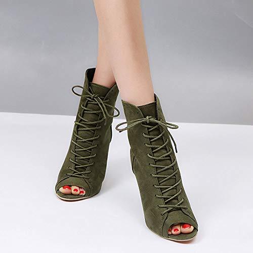 Ancho Flecos Tacón con Vaquero Botines Tobillo DE Negro Cómodo para EN Al Botas Tacon Mujer con Botas Suede de Estilo Imitación de de Zapatos Cuero con Botas Tacón Mujer Verde POLP Botas 10cm Mujer Uq5Fn