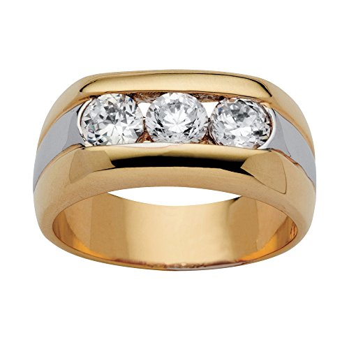 Palm Beach Jewelry Men's 14K Yellow Gold Plated Round Cubic Zirconia Two Tone 3 Stone Ring Size 9