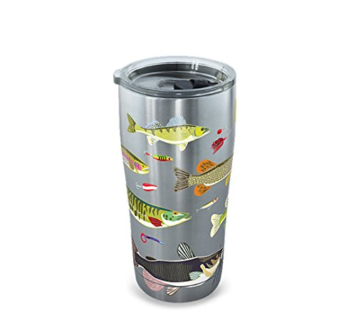 Tervis 1261365 Freshwater Fish and Lures Stainless Steel Tumbler with Clear and Black Hammer Lid 20oz, Silver
