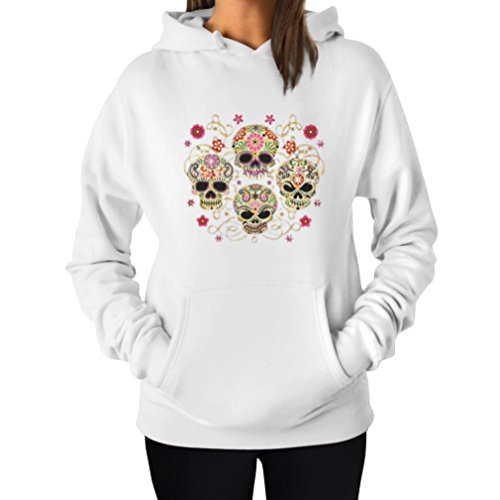 Rose Eye Sugar Skulls - Day of The Dead Gothic Women's Hoodie X-Large White -