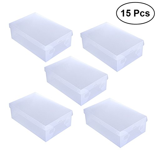 WINOMO 15pcs Plastic Foldable Shoe Storage DIY Transparent Box for Home Office by WINOMO