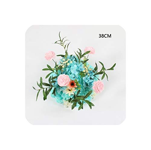 (Party Celebration Wedding Decor Backdrop Road Lead Flower Row Artificial Flower Arrangement Rose Peony Leaf Table Flower Ball,D 8)