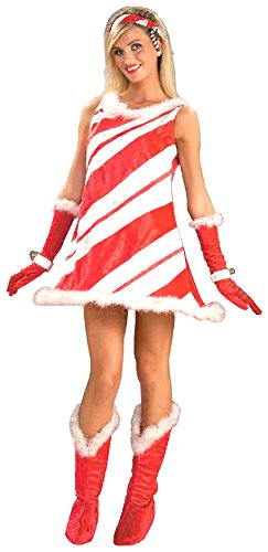 Forum Novelties Women's Miss Candy Cane Costume, Red/White, Standard