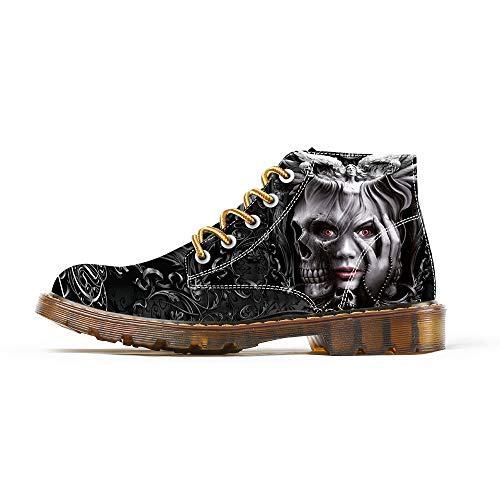 FIRST DANCE Boots for Women Clown Skull Face Print Shoes Dr Martin Skull Boots Fashion Boots Black Shoes for Woman 7.5 US ()
