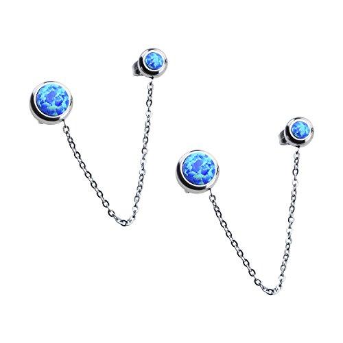 Women's Stainless Steel Bezel Set Blue Synthetic Opal Double Stud Earrings.