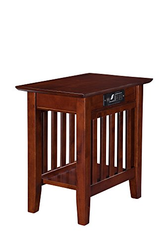 (Atlantic Furniture AH13214 Mission Chair Side Table with Charging Station, Walnut)