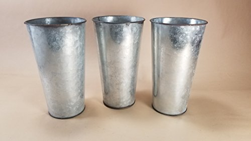 """Set of 3 Galvanized Buckets French Style Taper 9"""" tall x 5"""""""