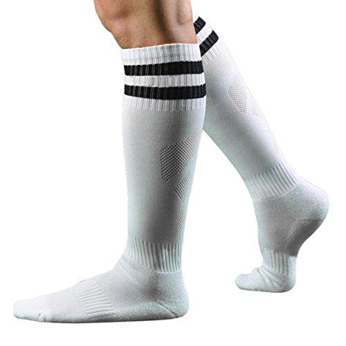 Mens Stripe Printed Socks Team Hockey Baseball Football Soccer Socks Solid Over Knee High Long Sports Crew Socks By GateLie (White)