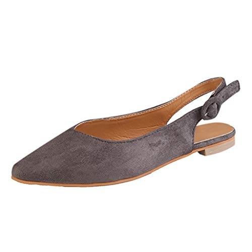 Aunimeifly Ladies Solid Color Buckle Pointed Toe Flats Women Slingbacks Rome Sandals Casual Single Shoes Gray ()