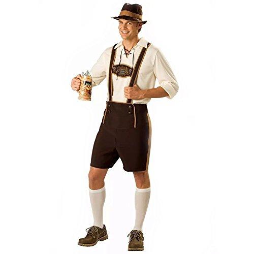 FEESHOW Herren Halloween Oktoberfest Barmixer Kostüm für Maskenball Outfits Trachtenhose Overalls Hemd und Hut Freizeit Trachtenhose Dunkles Khaki&Weiß M