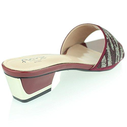 Mujer Señoras Brillante Ponerse Diamante Medio Tacón De Bloque Noche Fiesta Prom Sandalias Zapatos Tamaño Rojo