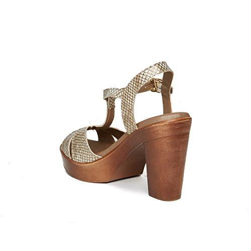 UMA Sandalias de Plataforma de Mujer Cuero Genuino Oro