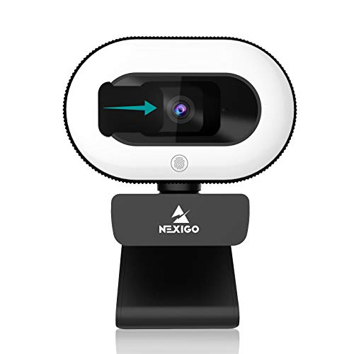 2021 NexiGo StreamCam N930E, 1080P Webcam with Ring Light and Privacy Cover, Auto-Focus, Plug and Play, Web Camera for Online Learning, Zoom Meeting Skype Teams, PC Mac Laptop Desktop Computer