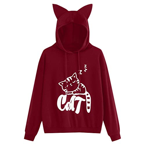 TANALNG Womens Cat Print Long Sleeve Hoodie Sweatshirt Hooded Pullover Tops Blouse Cat Ears Decorated Semi-Dome Pullover Wine