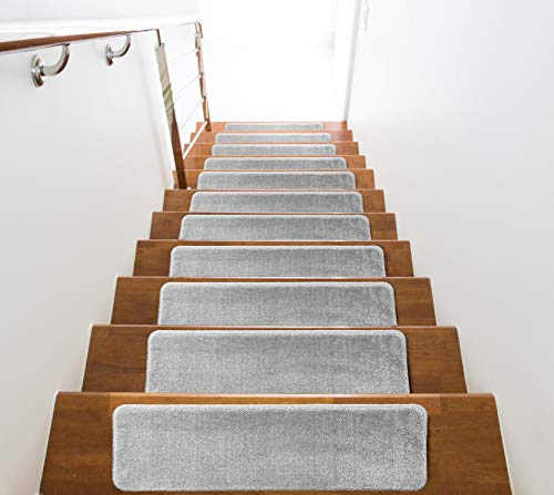 Washable, Slip Skid Resistant Rubber Back Stair Tread Mats, 9 inch by 28 inch, Solid, Light Grey, Set of - 28 Inch Rubber