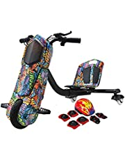 Toy&Joy Drifting Electric Scooter Red with Helmet Pad Set, Knee and Elbow Pads