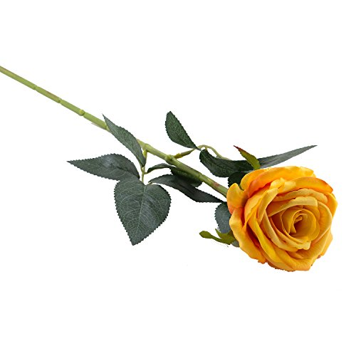 Royal Imports Yellow Velvet Artificial Faux Fake Silk Rose Flower for Bouquets, Weddings, Valentines, Wreaths, Crafts, Single Stem (1 Dozen) 30