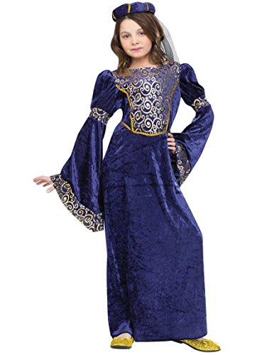Cheap Renaissance Costumes (Renaissance Maiden Kids Costume Blue / Gold Small)