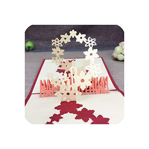 (Laser Cut Vintage Happy Birthday Postcard Greeting Gift Cards Blank Paper 3D Handmade Pop Up Invitations With Envelope,Red)