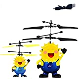 T & S New exotic mini aircraft Suspension light intelligent sensing flying ball Children's toys in various styles, small yellow / eyes with light [blue models] (no remote control) 132g