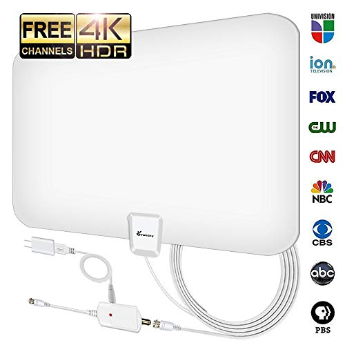 Vansky TV Antenna - HD Amplified Digital HDTV Antenna 65-90 Mile w/ Local Broadcast 4K VHF UHF Signal Channels for All TVs with Detachable Amplifier - 16.5feet Coax Cable