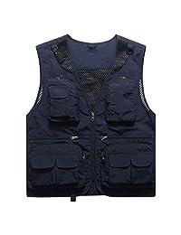 Vest Spring and Summer Thin Section Fishing Vest V-Neck Male Youth Multi-Pocket Vest Sleeveless Vest Shoulder Tooling Male Blouse ZHJING (Color : Blue, Size : M)