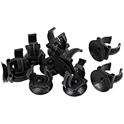 Uxcell Aquarium Fish Tank Suction Cup Glass Cover Plastic Clips, Black, 10-Pack