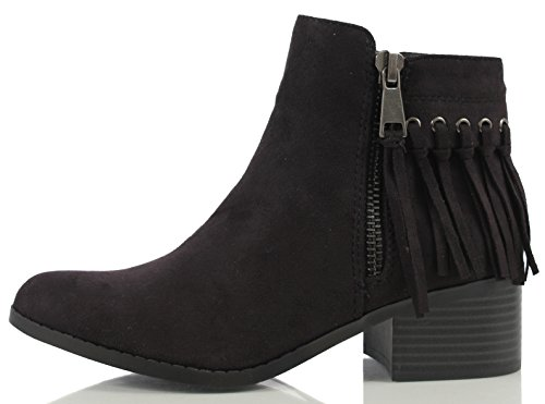 Classified Black Women's M Stacked Faux 7 US Suede City Ankle Fringe Heel Bootie Bean Cognac Rd6BwTxU