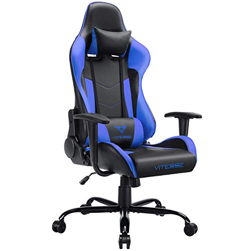 Vitesse Gaming Chair Sillas Gaming Video Gaming Chair Ergonomic Computer Desk Chair High Back Racing Style Comfortable Chair Swivel Executive Leather Chair with Lumbar Support and Headrest Blue