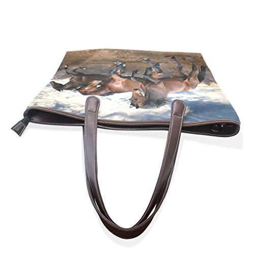 COOSUN Funcionamiento de los caballos grandes mango de cuero Bolsa de hombro bolsa de asas de mano de PU L (33x45x13) cm Multicolor # 003