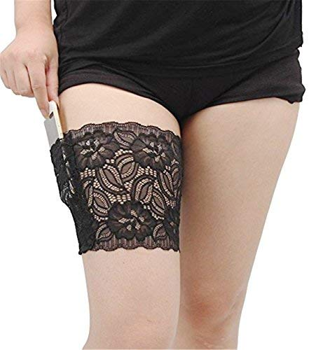 (VIEEL Womens Lace Non-slip Concealed Thigh Holster Thigh Garter With Purse Phone Security Pockets (Black,)
