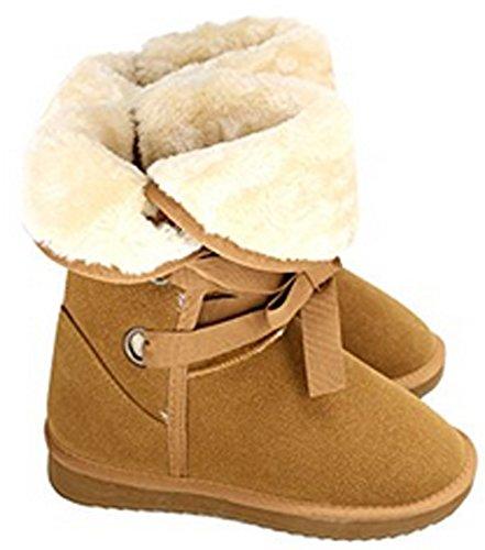 ZEARO Schneestiefel Damen Schnee Stiefel Aufladungs Winter warme schnüren oben flache Ferse Fleece gezeichnete Gr.36-40 Kaffee