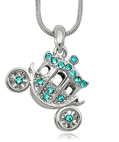 Princess Pumpkin Carriage Stagecoach Fairy Tale Charm Pendant Necklace Girls, Teens, Women Jewelry Gift, Halloween, Christmas, Birthday Present (Teal) (Teal) -