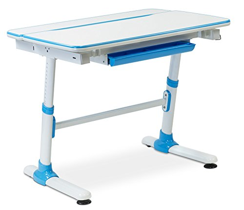 Mount-It! Children's Desk Ages 3 to 12, Kids School Workstation, 39 Inch Wide Height Adjustable Study Desk, Tilting Desktop and Drawer, White/Blue by Mount-It!