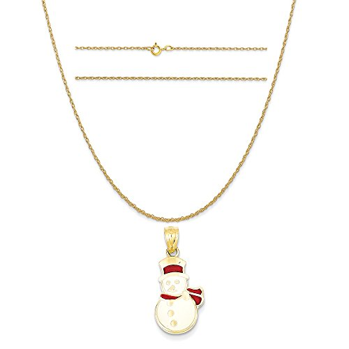 14k Yellow Gold Enameled Snowman Pendant on a 14K Yellow Gold Carded Rope Chain Necklace, 18