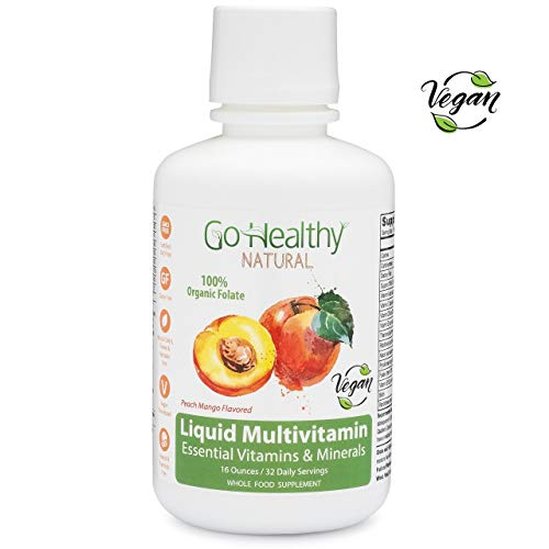 Go Healthy Natural Liquid Multivitamin with Organic Folate, Vegan, Plant-Based Whole Food 32 Servings (Best Food Sources For Minerals)